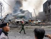 تحطم طائرة عسكرية فوق حي سكني في مدينة ميدان الإندونيسية