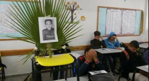 لم يصل الى صفه، صورة المقعد الدراسي الفارغ للطالب الشهيد علاء الزاملي الذي قتله المحتلون أمس شرق غزة