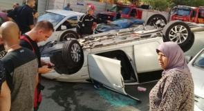 إصابة شخص بانقلاب سيارة في يافا