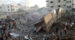 مركز المسحال الثقافي في غزة الذي دمرته طائرات الاحتلال عصر اليوم