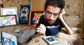 رغم إعاقته الحركية..محمد الدلو أول فلسطيني يفتتح معرضاً لرسوم الأنيميشن