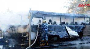 مقتل 13 جندياً سورياً في تفجير استهدف حافلتهم بدمشق
