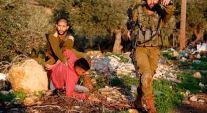 لحظة اعتقال قوات الاحتلال لفتى شرق نابلس
