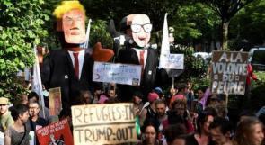 المئات يتظاهرون ضد ترامب في بروكسل