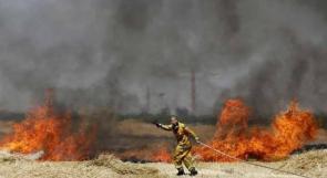 ارتفاع عدد الحرائق في غلاف غزة بفعل البالونات الحارقة إلى 13