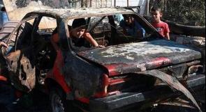 احتراق مركبة فلسطينية بقنابل الغاز الاسرائيلية في مخيم الفوار