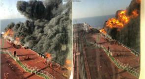 صور قريبة تظهر الحريق داخل احدى ناقلتي النفط في بحر عمان