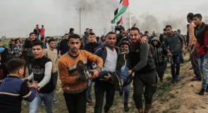 130 اصابة خلال قمع الاحتلال للمتظاهرين شرق غزة