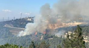 فيديو: اندلاع حريق كبير في منطقة حرشية قرب مدينة الناصرة