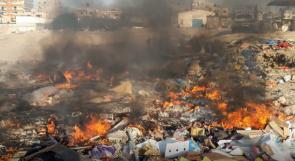حرائق يومية في سوق غزة.. والمواطنون يناشدون عبر وطن للتخلص من النفايات بطرق أخرى