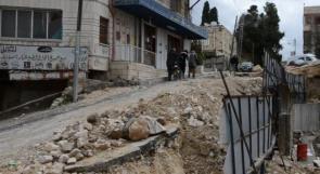 """خاص لـ """"وطن"""": بالفيديو... طولكرم: انهيار شارع رئيسي يزيد معاناة المواطنين"""
