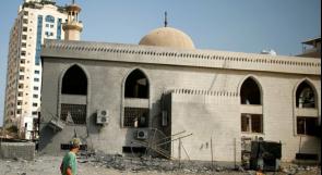 قصف طائرات الاحتلال تسببت باضرار لمسجد الشيخ زايد