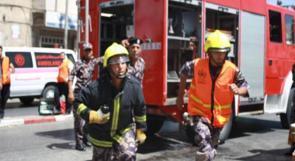 إصابة ضابط بالدفاع المدني اثناء اطفاء حريق في جنين