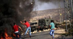 محدث.. 14 إصابة خلال مواجهات المدخل الشمالي لمدينة البيرة