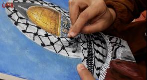 دمر الاحتلال منزلها بعد زفافها بأيام... الهام تجمع بين الريشة والإبرة في صناعاتها لوحاتها الفنية