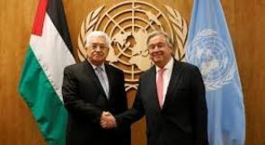 الرئيس عباس يلتقي أمين عام الأمم المتحدة