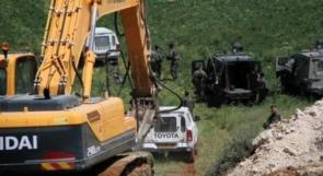 الاحتلال يستولي على حفار ومعدات شرق بيت لحم