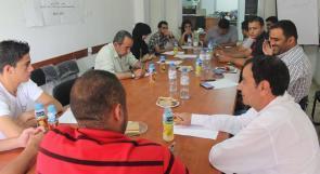 متطوعو الاغاثة الزراعية في نابلس يقرون فعاليات الشهر الحالي