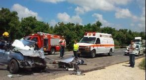 اصابة مواطن  و 3 اسرائيليين في حادث سير قرب رام الله