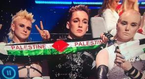 """فيديو  .. علم فلسطين واثار العدوان على غزة يحضران في نهائي """"يوروفيجن"""""""