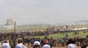 غزة | مشاركون في مسيرة العودة لـوطن: هذه أرضنا وإليها سنعود