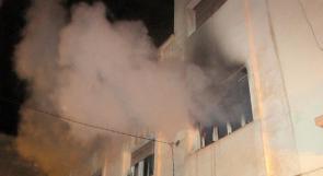 اشتعال النيران في مطبعة بحي البساتين في جنين