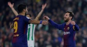 الدوري الإسباني: ميسي وسواريز يقودان برشلونة لسحق بيتيس