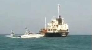 الإعلام الإيراني ينشر لقطات أولية للسفينة التي احتجزها الحرس الثوري في مياه الخليج