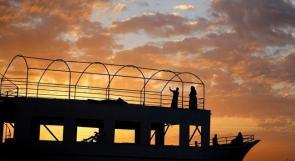 غروب الشمس على شاطئ غزة