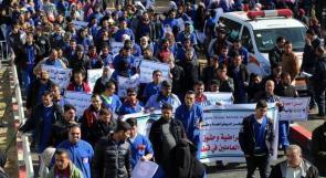 عمال النظافة في مستشفيات غزة يعتصمون للمطالبة بصرف مستحقاتهم المالية