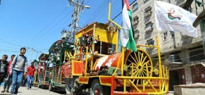 """خاص لـ""""وطن"""" بالفيديو .. قطار الطفل والكتاب يجوب خانيونس وينشر الثقافة الفلسطينية"""