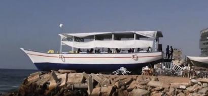 """خاص لـ""""وطن"""" بالفيديو : """"لولو"""" .. السفينة المطعم توفر جلسة هادئة مع نسيم بحر غزة"""