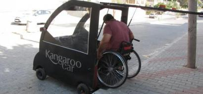 """خاص لـ""""وطن"""": بالفيديو.. غزة: """"الكنغر"""".. سيارة  لذوي الإعاقة"""