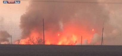 فيديو.. انفجارات ضخمة بمستودع للصواريخ في اوكرانيا