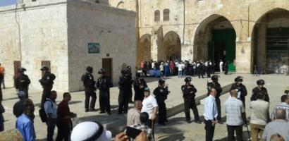 مستوطنون يقتحمون المسجد الأقصى بحماية أمنية مشددة