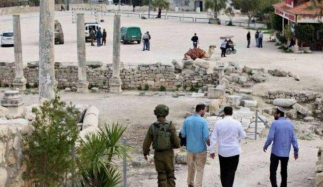مستوطنون يقتحمون المنطقة الأثرية في سبسطية شمال غرب نابلس