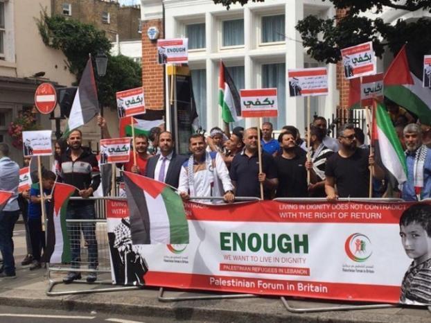 بالفيديو.. اعتصام في لندن احتجاجاً على قرار وزير العمل اللبناني