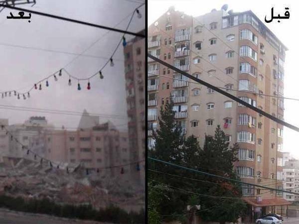 """بالفيديو ... طائرات الاحتلال تدمر برج """"الظافر 4"""" المكون من 14 طابقا"""