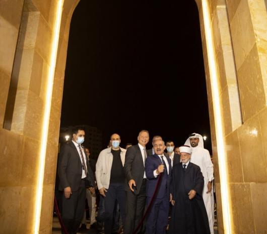 رئيس الوزراء ومفتي القدس وبشار المصري يفتتحون جامع قطر في مدينة روابي