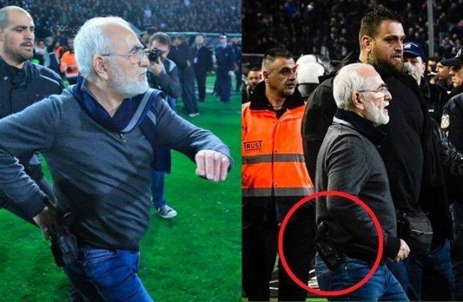 فيديو | رئيس فريق يوناني يحتج على حكم المباراة بالمسدس