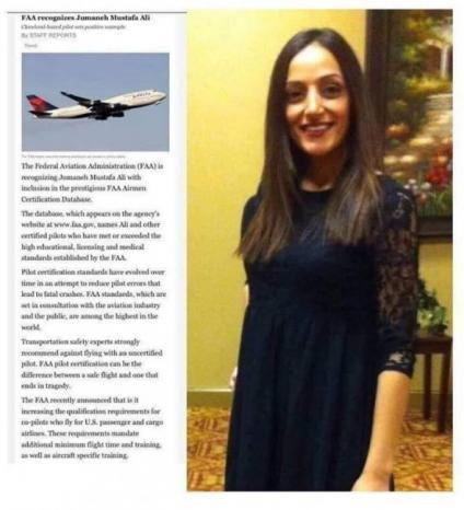 جمانة عابد.. فلسطينية ضمن أفضل 50 طياراً على مستوى الولايات المتحدة