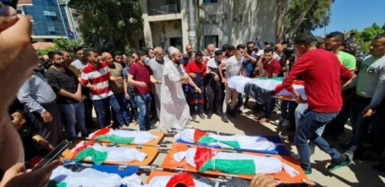 تشييع جثامين شهداء مجزرة الشاطئ غرب غزة