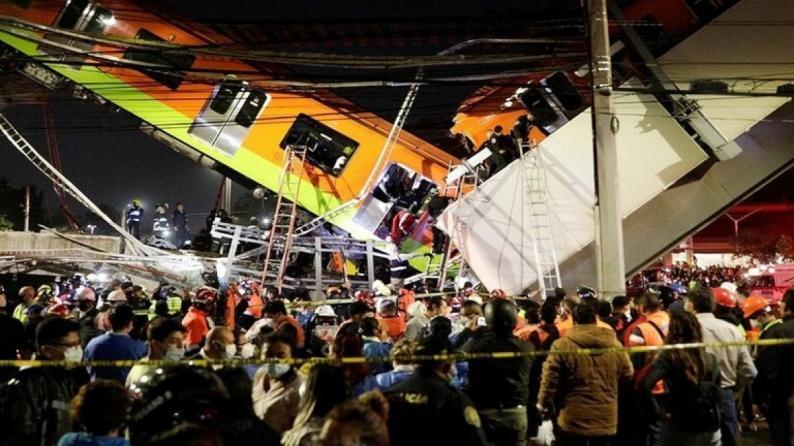 عشرات القتلى والجرحى جراء انهيار جسر لحظة مرور قطار أنفاق في المكسيك