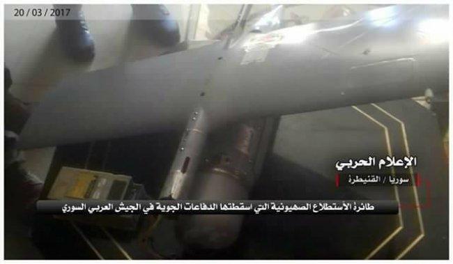 بالصور .. الجيش السوري يسقط طائرة استطلاع اسرائيلية