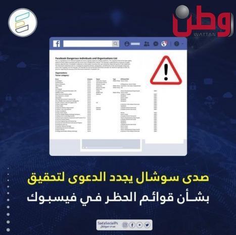 صدى سوشال يجدد الدعوى لتحقيق بشأن قوائم الحظر في فيسبوك