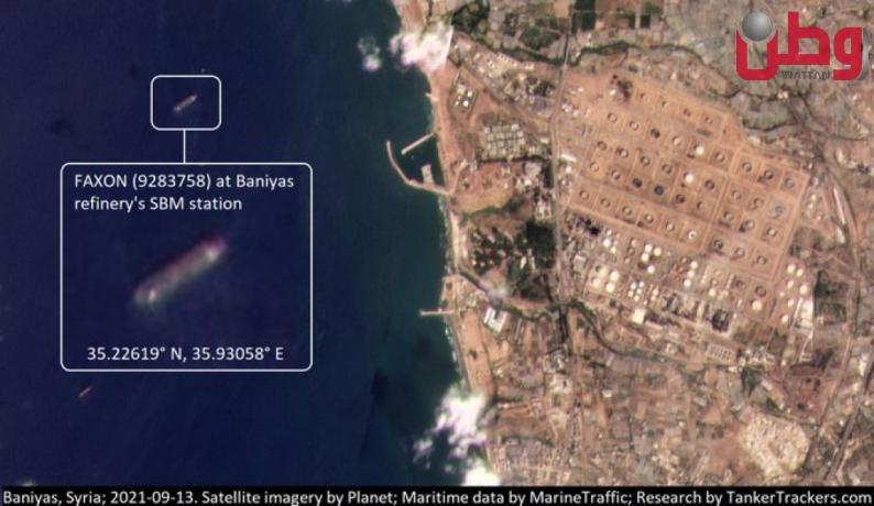 """صورة جوية """"تظهر"""" إفراغ الوقود الإيراني في مرفأ بانياس السوري"""