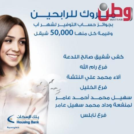 بنك الإسكان - فلسطين يعلن عن الفائزين بجوائز حسابات التوفير لشهر آب 2021