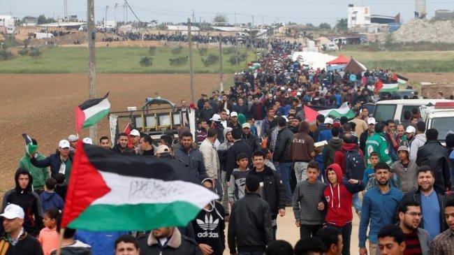 إصابات بالاختناق في قمع الاحتلال المسيرات السلمية شرق قطاع غزة