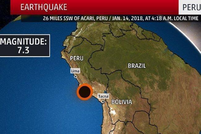 زلزال بقوة 7.3 درجات يضرب بيرو -